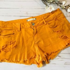 BULLHEAD Orange Cut Off Jean Shorts Size 13